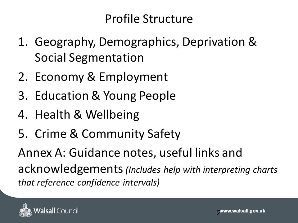 www.walsall.gov.uk Profile Structure 1.Geography, Demographics, Deprivation & Social Segmentation 2.Economy & Employment 3.Education & Young People 4.