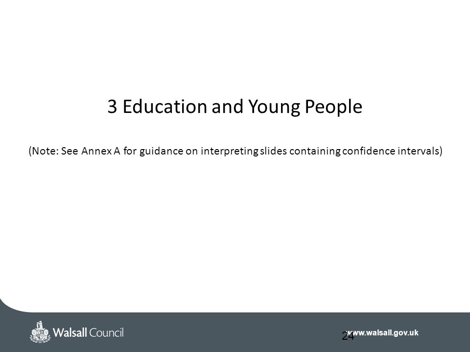 www.walsall.gov.uk 3 Education and Young People (Note: See Annex A for guidance on interpreting slides containing confidence intervals) 24