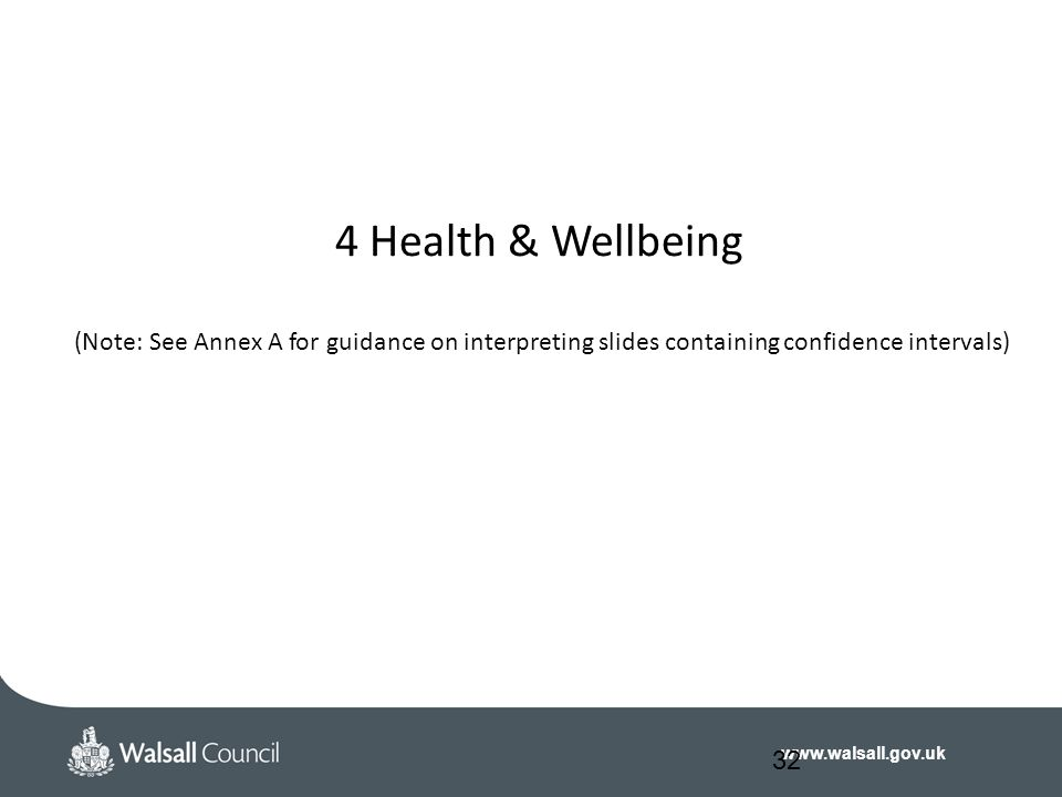 www.walsall.gov.uk 4 Health & Wellbeing (Note: See Annex A for guidance on interpreting slides containing confidence intervals) 32