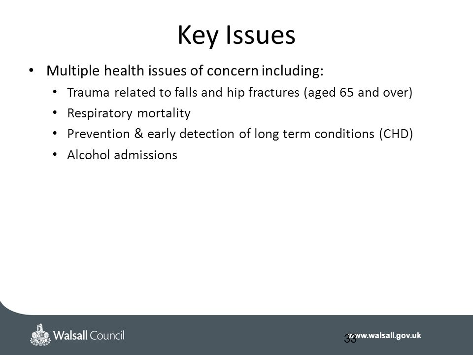 www.walsall.gov.uk Key Issues Multiple health issues of concern including: Trauma related to falls and hip fractures (aged 65 and over) Respiratory mortality Prevention & early detection of long term conditions (CHD) Alcohol admissions 33