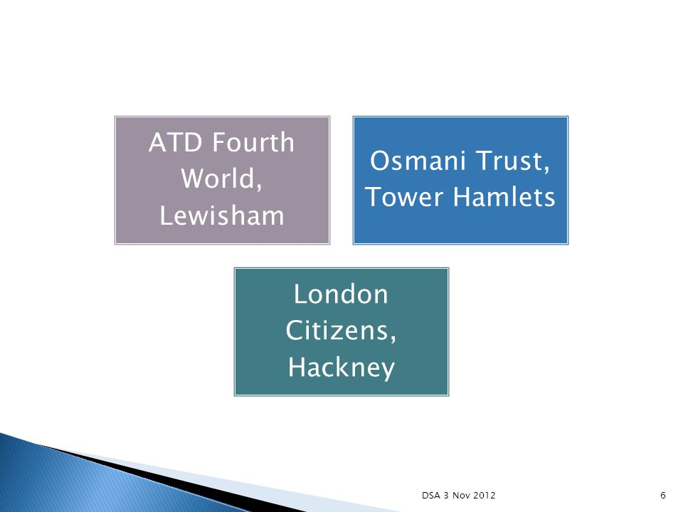 ATD Fourth World, Lewisham Osmani Trust, Tower Hamlets London Citizens, Hackney 6