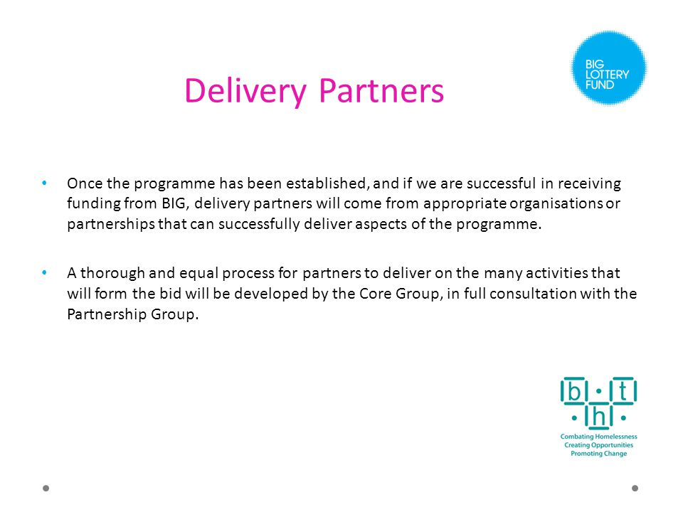 Delivery Partners Once the programme has been established, and if we are successful in receiving funding from BIG, delivery partners will come from appropriate organisations or partnerships that can successfully deliver aspects of the programme.