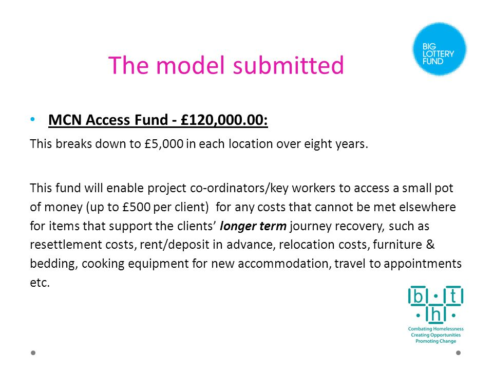 The model submitted MCN Access Fund - £120,000.00: This breaks down to £5,000 in each location over eight years.