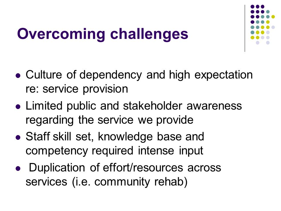 Overcoming challenges Culture of dependency and high expectation re: service provision Limited public and stakeholder awareness regarding the service we provide Staff skill set, knowledge base and competency required intense input Duplication of effort/resources across services (i.e.