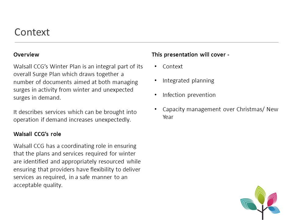 Integrated planning The surge plan pulls together ingredients from the following documents: Systems Resilience Plan 2014/15 Walsall Metropolitan Borough Council Re-ablement Plans Together these plans outline the services and contingencies that are in place across Walsall.