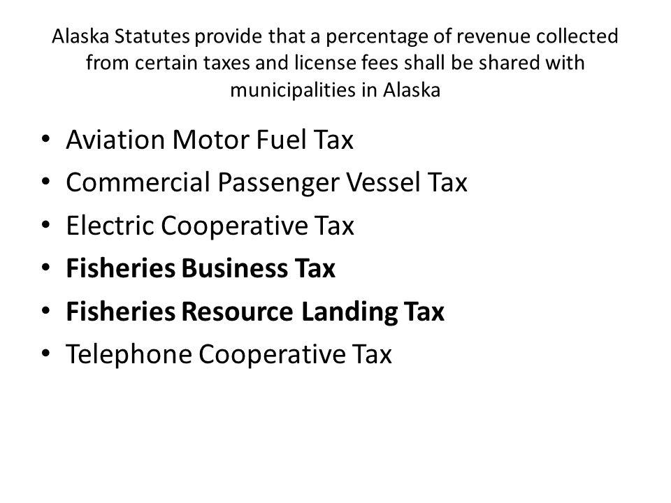 Fisheries Business Tax (AS 43.75) Raw Fish Tax Alaska's Oldest Tax est.