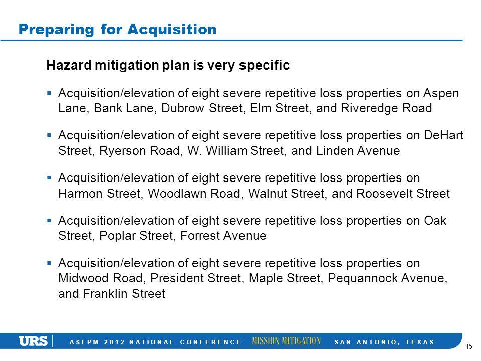 ASFPM 2012 NATIONAL CONFERENCE MISSION MITIGATION SAN ANTONIO, TEXAS Preparing for Acquisition Hazard mitigation plan is very specific  Acquisition/e