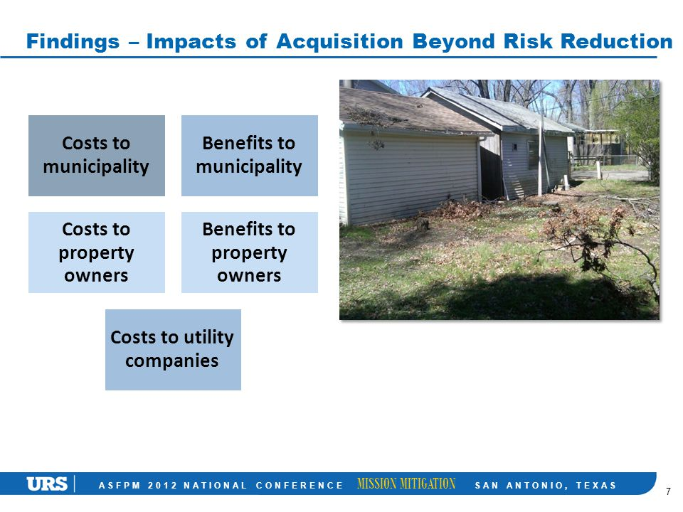 ASFPM 2012 NATIONAL CONFERENCE MISSION MITIGATION SAN ANTONIO, TEXAS Findings – Impacts of Acquisition Beyond Risk Reduction 7 Costs to municipality Benefits to municipality Costs to property owners Benefits to property owners Costs to utility companies