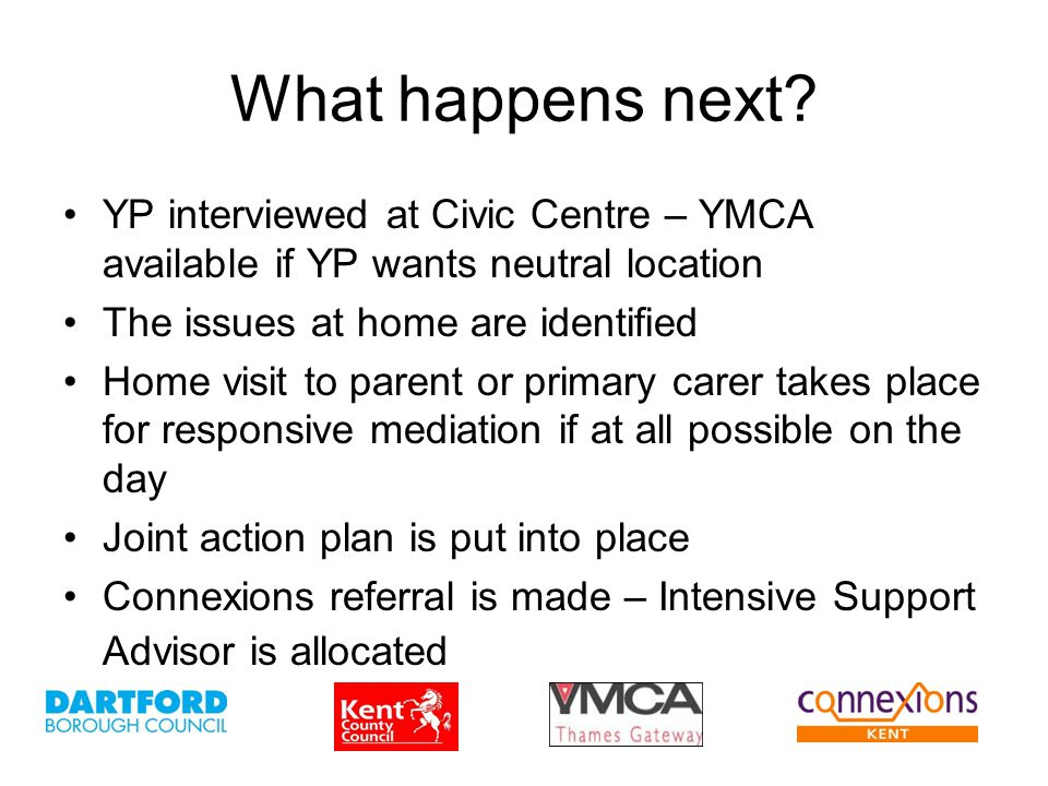 What happens next? YP interviewed at Civic Centre – YMCA available if YP wants neutral location The issues at home are identified Home visit to parent