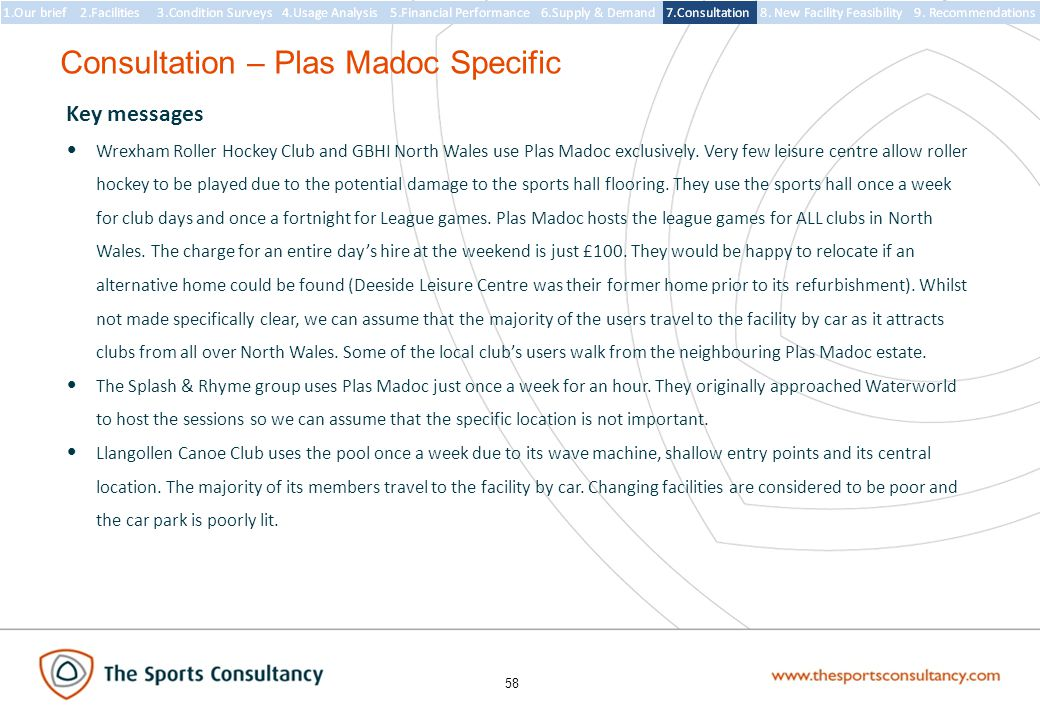 58 Consultation – Plas Madoc Specific Key messages Wrexham Roller Hockey Club and GBHI North Wales use Plas Madoc exclusively.