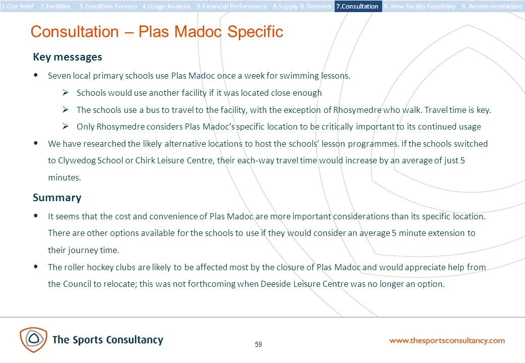 59 Consultation – Plas Madoc Specific Key messages Seven local primary schools use Plas Madoc once a week for swimming lessons.