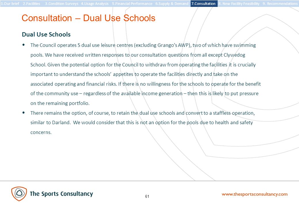 61 Consultation – Dual Use Schools Dual Use Schools The Council operates 5 dual use leisure centres (excluding Grango's AWP), two of which have swimming pools.