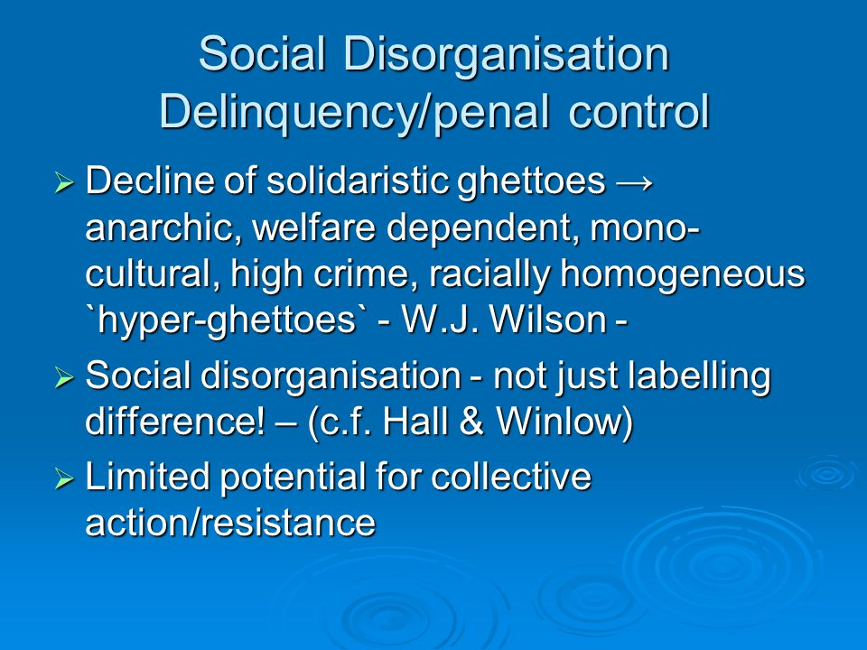 Social Disorganisation Delinquency/penal control  Decline of solidaristic ghettoes → anarchic, welfare dependent, mono- cultural, high crime, raciall