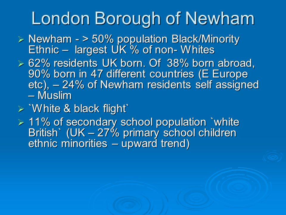 London Borough of Newham  Newham - > 50% population Black/Minority Ethnic – largest UK % of non- Whites  62% residents UK born.