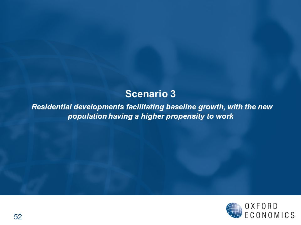 Scenario 3 Residential developments facilitating baseline growth, with the new population having a higher propensity to work 52