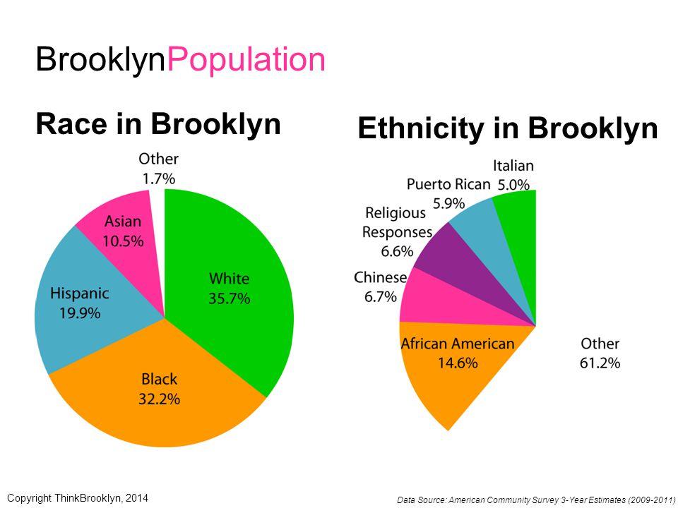 BrooklynPopulation Race in Brooklyn Ethnicity in Brooklyn Data Source: American Community Survey 3-Year Estimates (2009-2011) Copyright ThinkBrooklyn,
