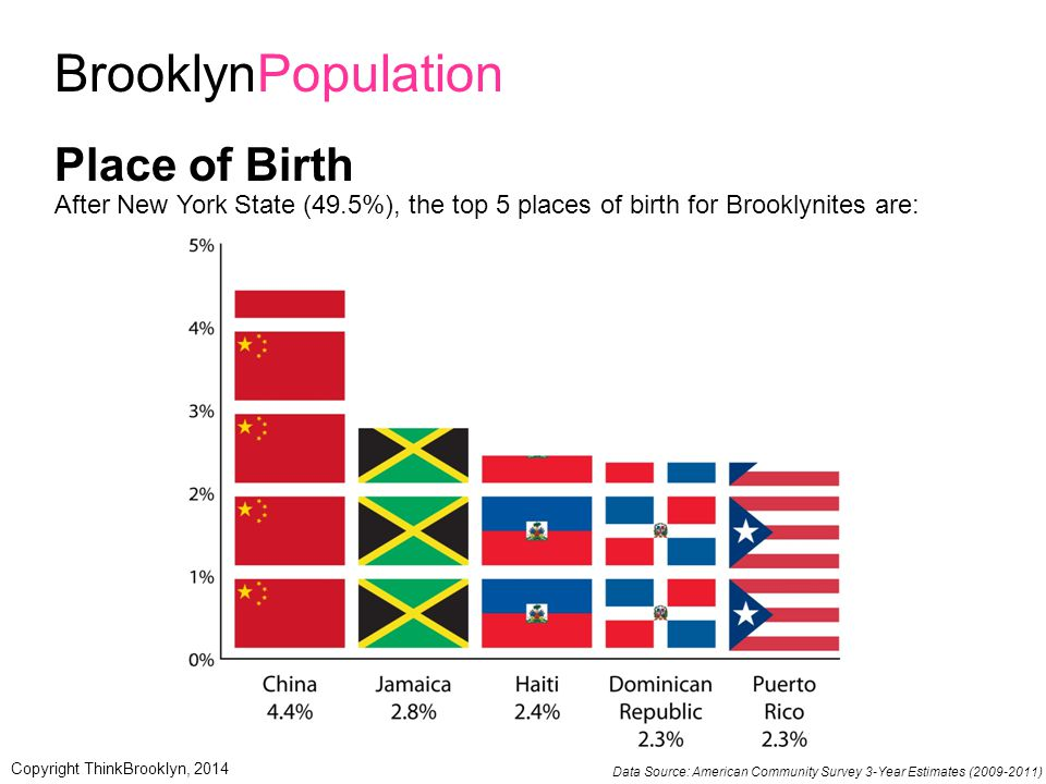 BrooklynPopulation Place of Birth After New York State (49.5%), the top 5 places of birth for Brooklynites are: Data Source: American Community Survey 3-Year Estimates (2009-2011) Copyright ThinkBrooklyn, 2014