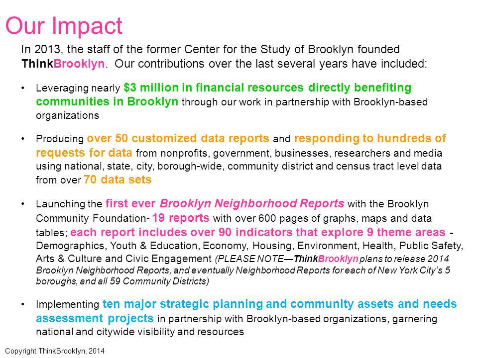 BrooklynPopulation Race in Brooklyn Ethnicity in Brooklyn Data Source: American Community Survey 3-Year Estimates (2009-2011) Copyright ThinkBrooklyn, 2014