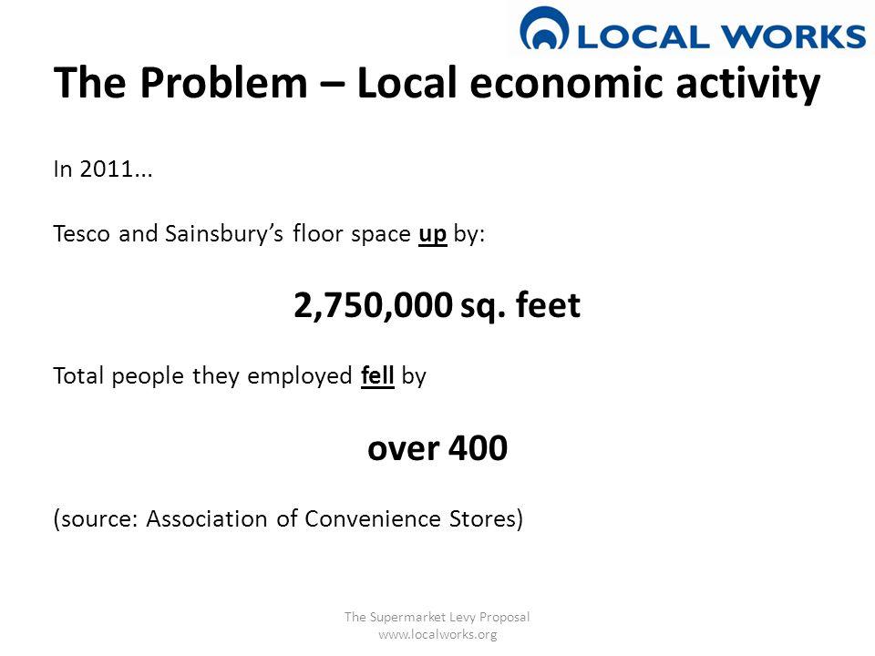 The Problem – Local economic activity In 2011...