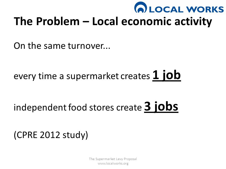 The Problem – Local economic activity Net local job losses when a new supermarket opens: 276 (Porter and Raistrick, 1998) The Supermarket Levy Proposal www.localworks.org