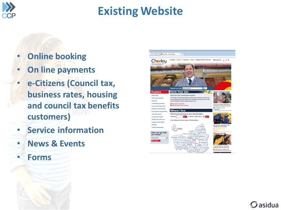 Existing Website Online booking On line payments e-Citizens (Council tax, business rates, housing and council tax benefits customers) Service information News & Events Forms