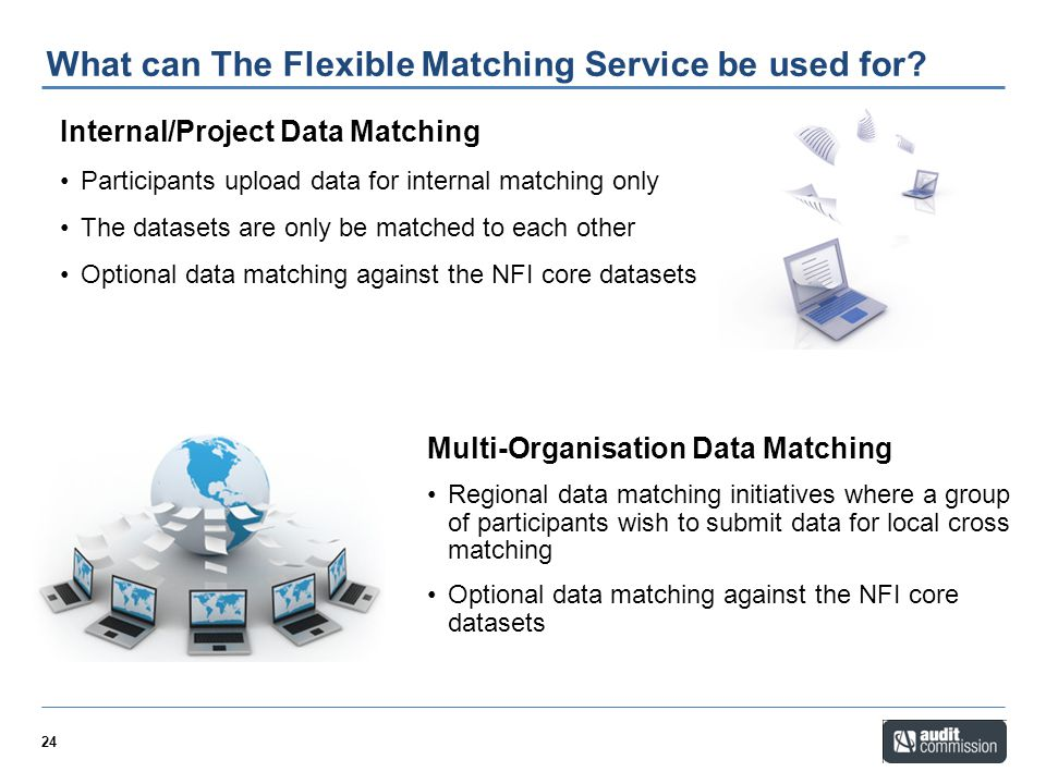 24 What can The Flexible Matching Service be used for? Internal/Project Data Matching Participants upload data for internal matching only The datasets
