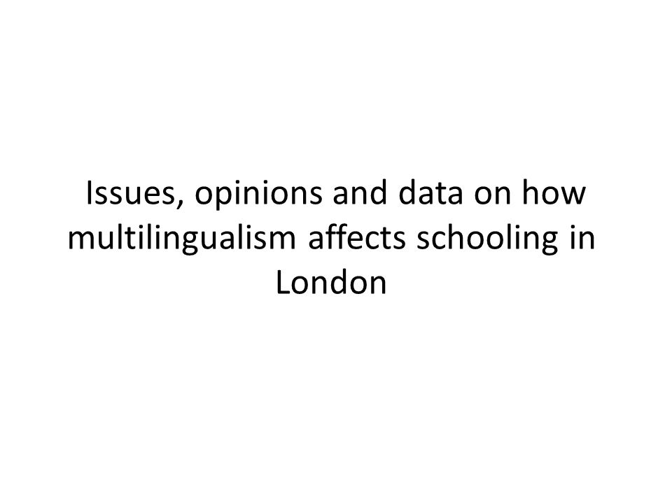 Issues, opinions and data on how multilingualism affects schooling in London