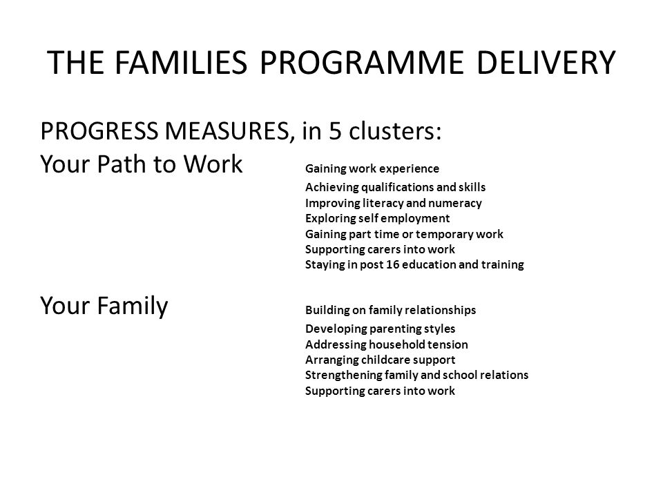 THE FAMILIES PROGRAMME DELIVERY PROGRESS MEASURES, in 5 clusters: Your Path to Work Gaining work experience Achieving qualifications and skills Improving literacy and numeracy Exploring self employment Gaining part time or temporary work Supporting carers into work Staying in post 16 education and training Your Family Building on family relationships Developing parenting styles Addressing household tension Arranging childcare support Strengthening family and school relations Supporting carers into work