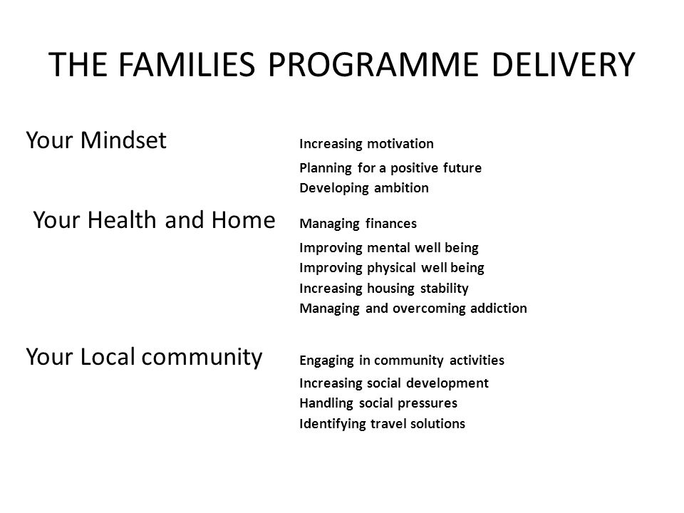 THE FAMILIES PROGRAMME DELIVERY Your Mindset Increasing motivation Planning for a positive future Developing ambition Your Health and Home Managing finances Improving mental well being Improving physical well being Increasing housing stability Managing and overcoming addiction Your Local community Engaging in community activities Increasing social development Handling social pressures Identifying travel solutions