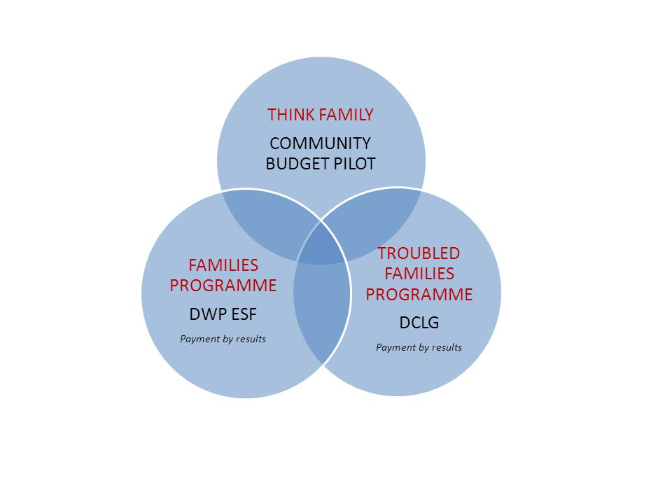 THINK FAMILY COMMUNITY BUDGET PILOT TROUBLED FAMILIES PROGRAMME DCLG Payment by results FAMILIES PROGRAMME DWP ESF Payment by results