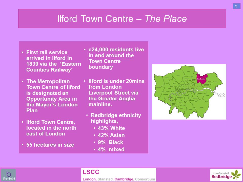 Ilford Town Centre – Planning AAP Adopted in 2008 and identifies 35 opportunity sites over 19 hectares, that collectively have the potential to deliver:- More than 5,000 new homes, in the long term.