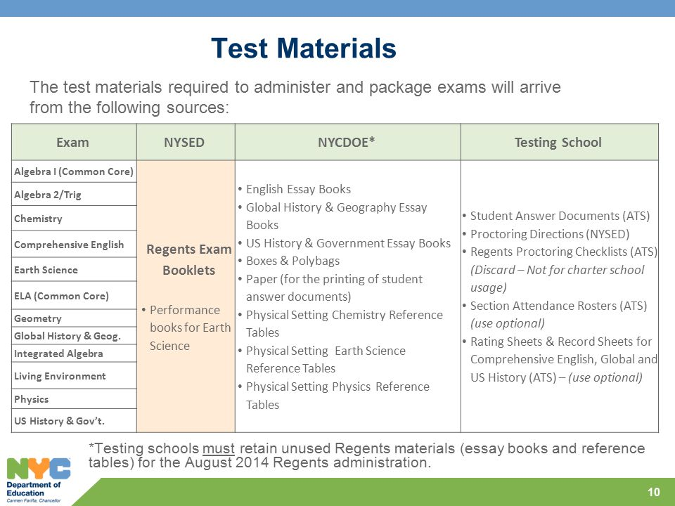 Test Materials The test materials required to administer and package exams will arrive from the following sources: 10 ExamNYSEDNYCDOE*Testing School Algebra I (Common Core) Regents Exam Booklets Performance books for Earth Science English Essay Books Global History & Geography Essay Books US History & Government Essay Books Boxes & Polybags Paper (for the printing of student answer documents) Physical Setting Chemistry Reference Tables Physical Setting Earth Science Reference Tables Physical Setting Physics Reference Tables Student Answer Documents (ATS) Proctoring Directions (NYSED) Regents Proctoring Checklists (ATS) (Discard – Not for charter school usage) Section Attendance Rosters (ATS) (use optional) Rating Sheets & Record Sheets for Comprehensive English, Global and US History (ATS) – (use optional) Algebra 2/Trig Chemistry Comprehensive English Earth Science ELA (Common Core) Geometry Global History & Geog.