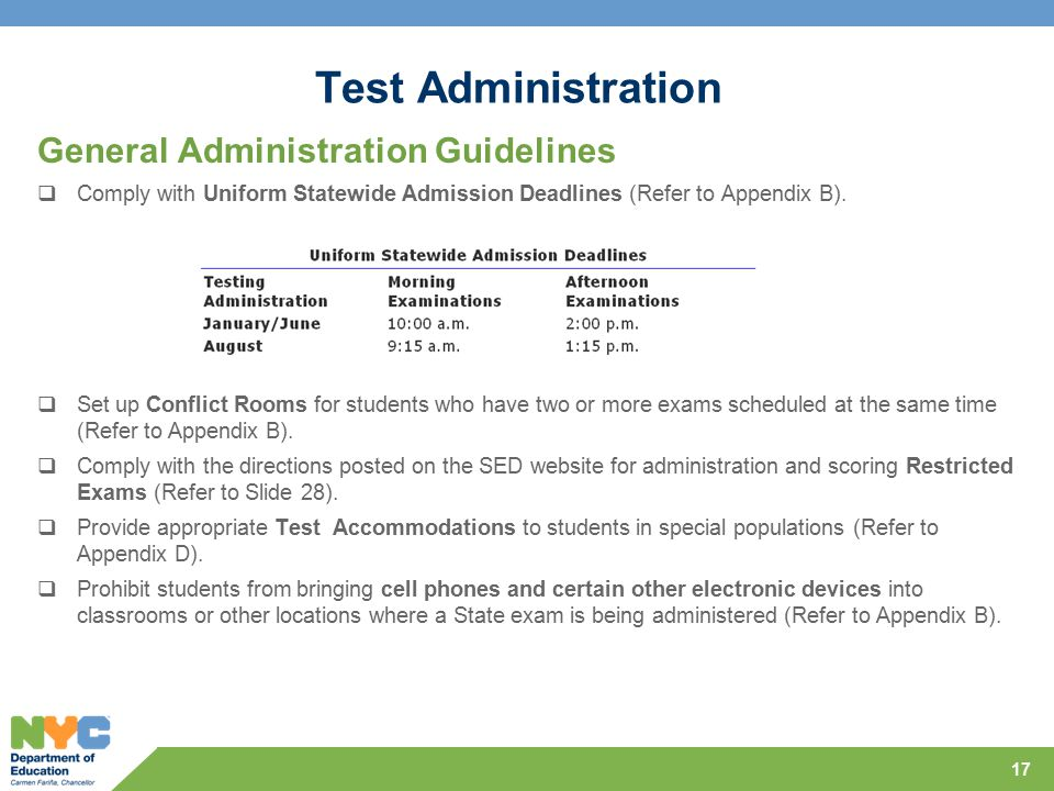 Test Administration General Administration Guidelines  Comply with Uniform Statewide Admission Deadlines (Refer to Appendix B).
