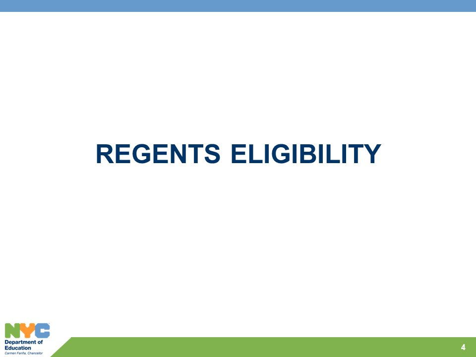 Regents Eligibility  Most answers about Regents and RCTs can be found in the Regents 2013 Edition, School Administrator s Manual, Secondary Level Examinations on the State Education Website.
