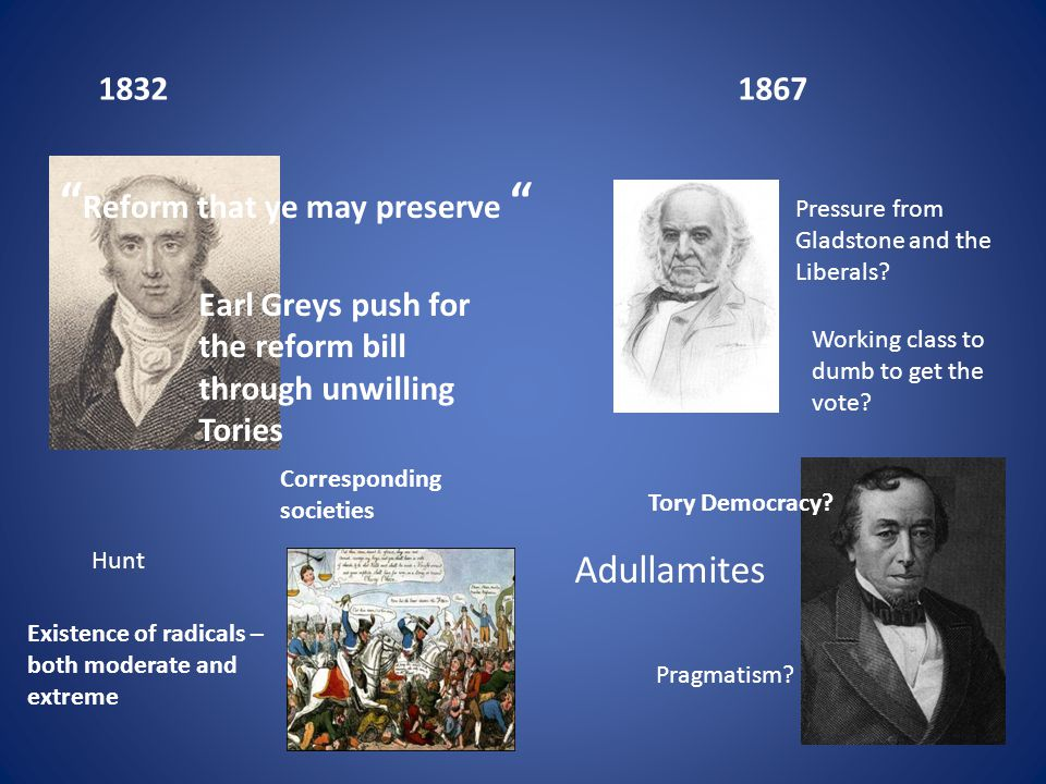18321867 Earl Greys push for the reform bill through unwilling Tories Existence of radicals – both moderate and extreme Corresponding societies Hunt T
