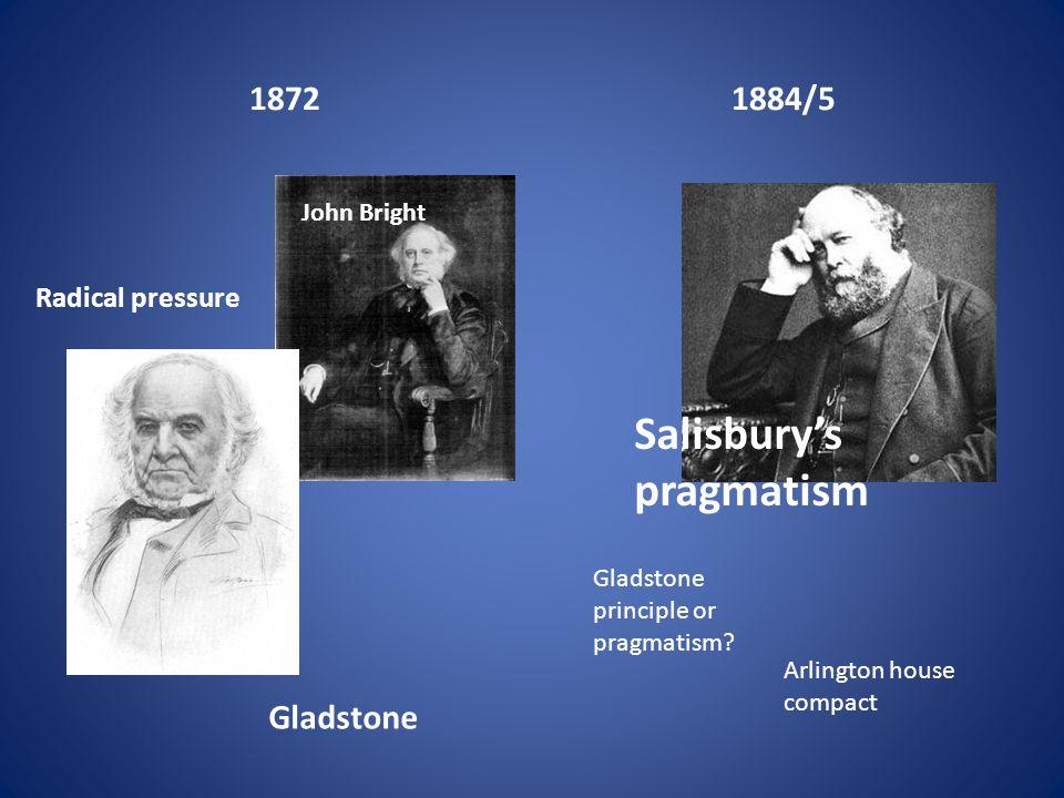18721884/5 Radical pressure John Bright Gladstone Salisbury's pragmatism Arlington house compact Gladstone principle or pragmatism