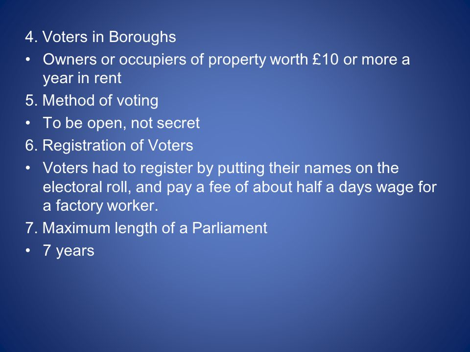 4. Voters in Boroughs Owners or occupiers of property worth £10 or more a year in rent 5. Method of voting To be open, not secret 6. Registration of V