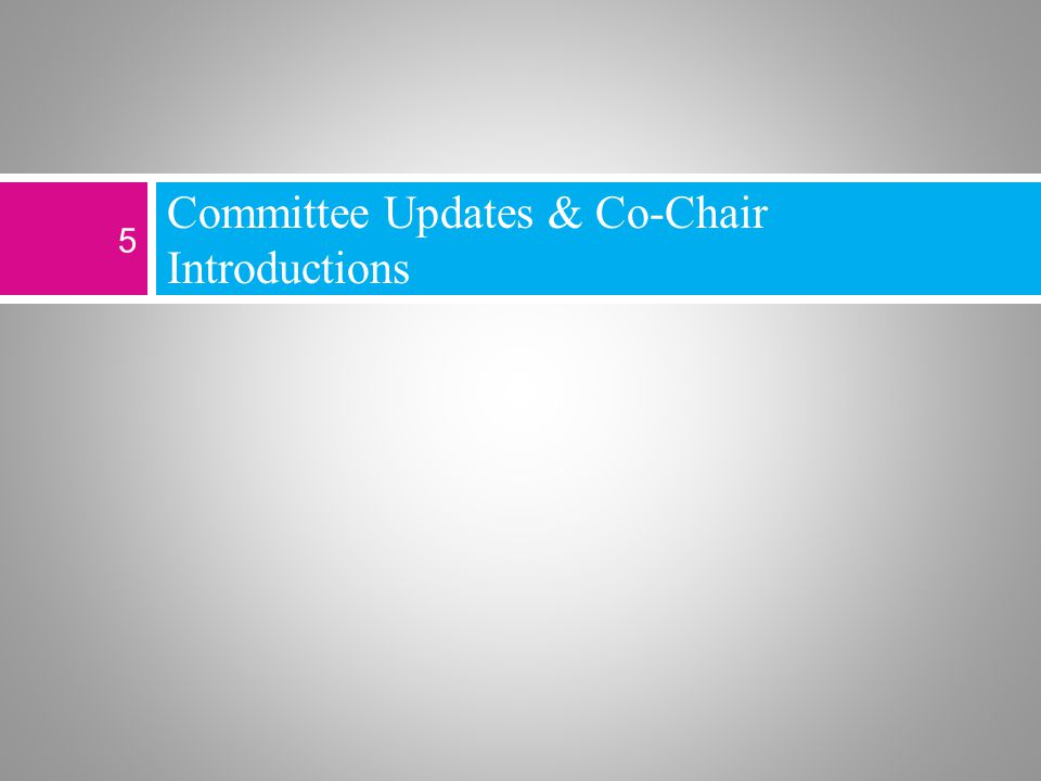 Committee Updates & Co-Chair Introductions 5
