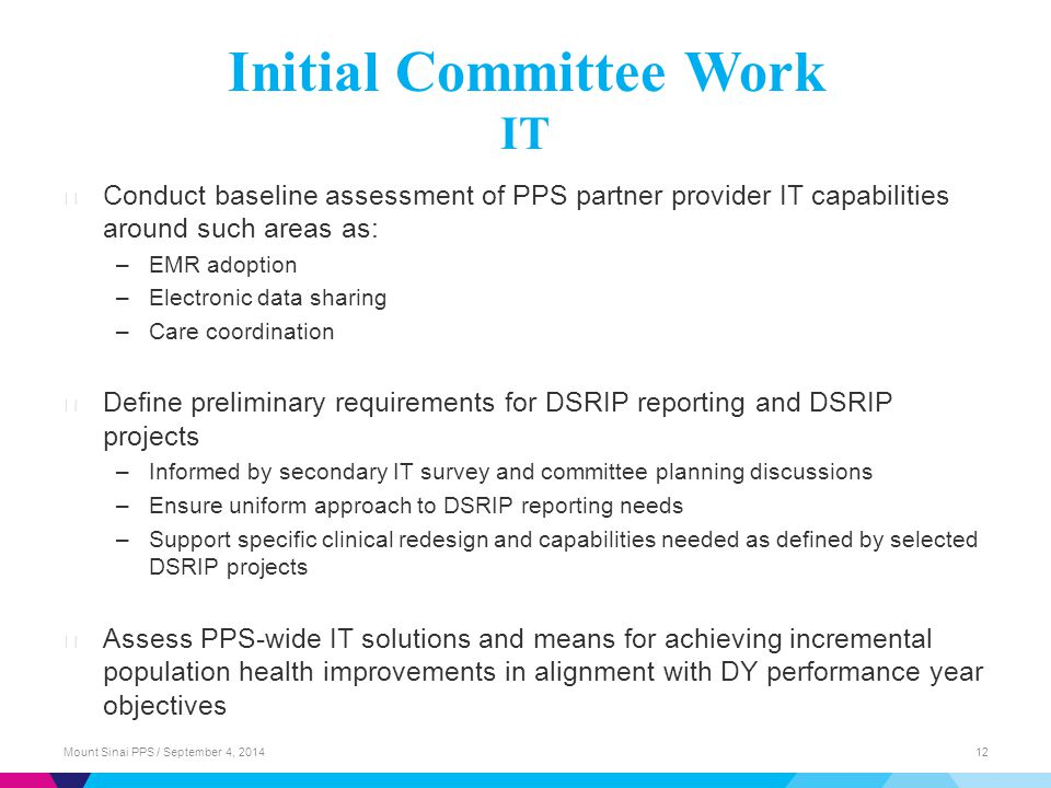 Initial Committee Work IT ▶ Conduct baseline assessment of PPS partner provider IT capabilities around such areas as: –EMR adoption –Electronic data sharing –Care coordination ▶ Define preliminary requirements for DSRIP reporting and DSRIP projects –Informed by secondary IT survey and committee planning discussions –Ensure uniform approach to DSRIP reporting needs –Support specific clinical redesign and capabilities needed as defined by selected DSRIP projects ▶ Assess PPS-wide IT solutions and means for achieving incremental population health improvements in alignment with DY performance year objectives Mount Sinai PPS / September 4, 201412