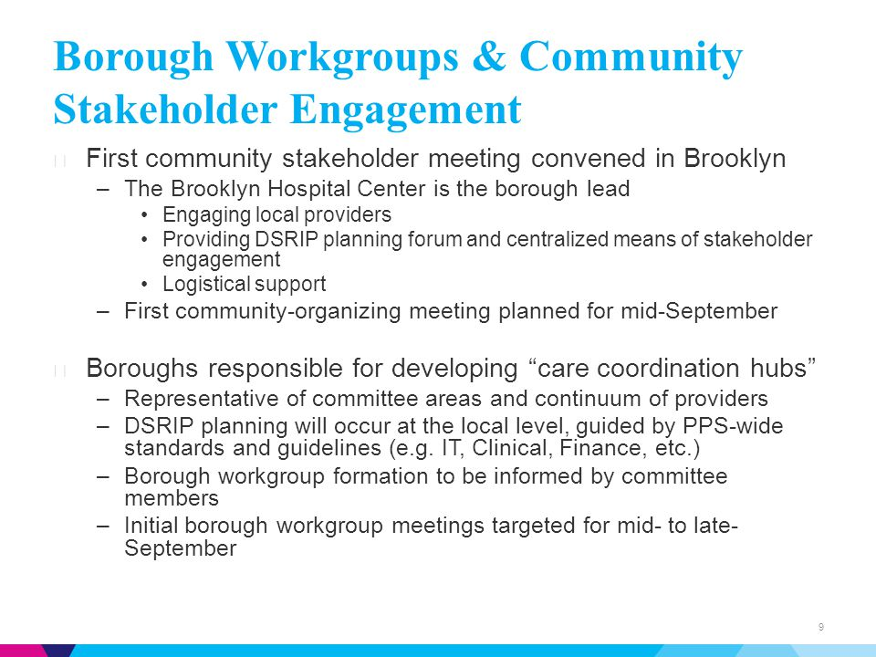 Borough Workgroups & Community Stakeholder Engagement ▶ First community stakeholder meeting convened in Brooklyn –The Brooklyn Hospital Center is the borough lead Engaging local providers Providing DSRIP planning forum and centralized means of stakeholder engagement Logistical support –First community-organizing meeting planned for mid-September ▶ Boroughs responsible for developing care coordination hubs –Representative of committee areas and continuum of providers –DSRIP planning will occur at the local level, guided by PPS-wide standards and guidelines (e.g.