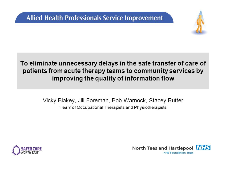 To eliminate unnecessary delays in the safe transfer of care of patients from acute therapy teams to community services by improving the quality of information flow Vicky Blakey, Jill Foreman, Bob Warnock, Stacey Rutter Team of Occupational Therapists and Physiotherapists