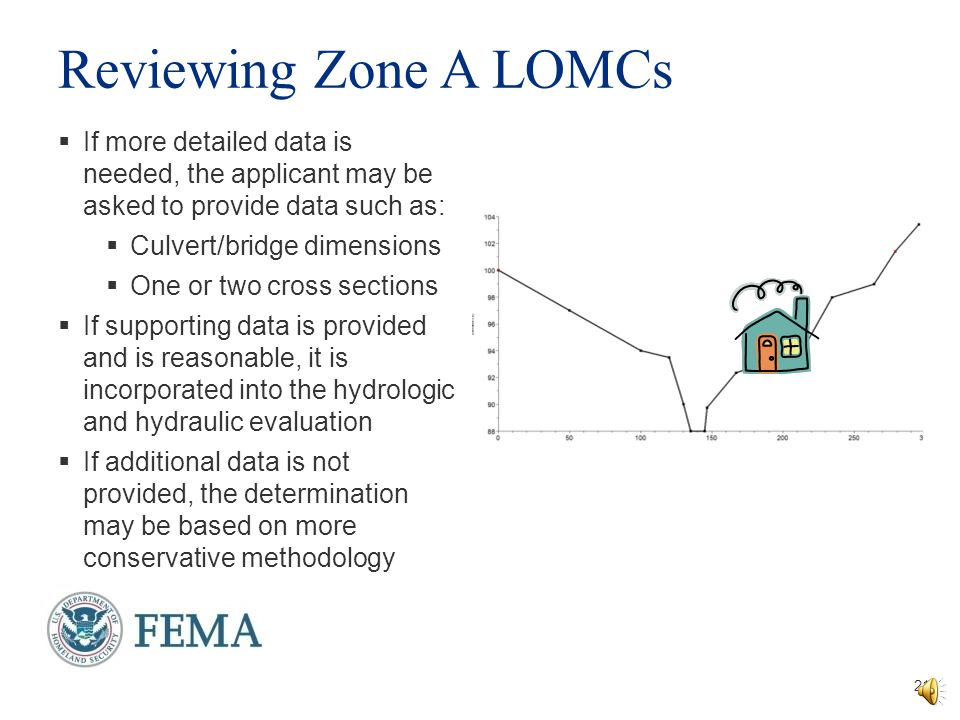 Letters of Map Change in a Zone A 20  If flood elevation data is provided, FEMA will verify its reasonableness  If elevation data cannot be provided, FEMA will compute a flood elevation  This elevation determination may not be included on the determination letter