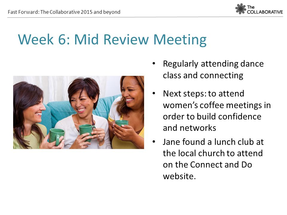 Fast Forward: The Collaborative 2015 and beyond Regularly attending dance class and connecting Next steps: to attend women's coffee meetings in order