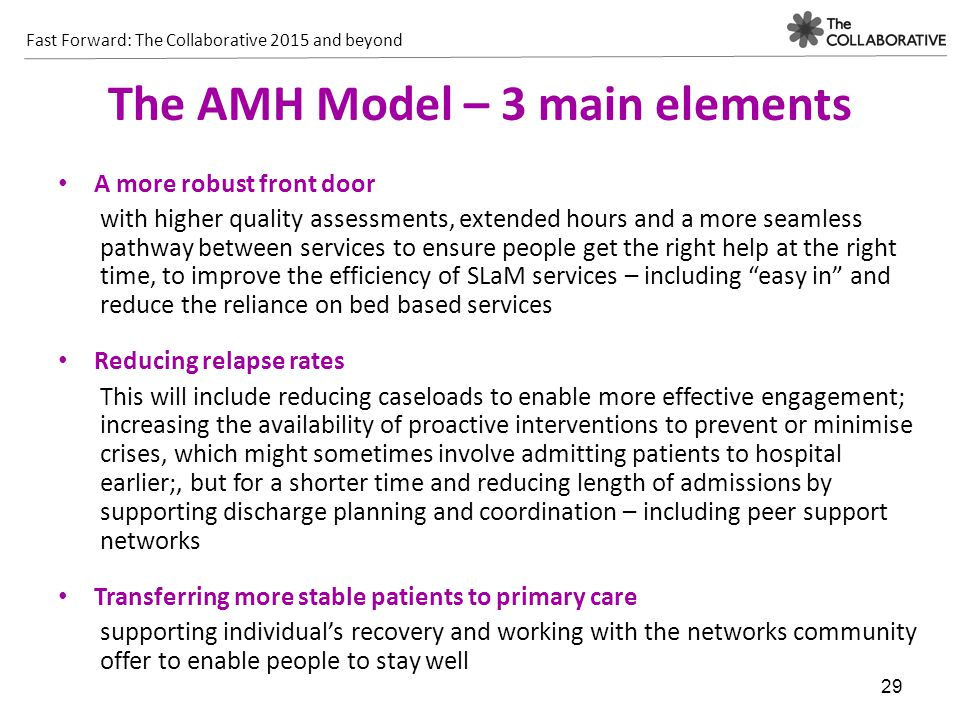 Fast Forward: The Collaborative 2015 and beyond 29 The AMH Model – 3 main elements A more robust front door with higher quality assessments, extended hours and a more seamless pathway between services to ensure people get the right help at the right time, to improve the efficiency of SLaM services – including easy in and reduce the reliance on bed based services Reducing relapse rates This will include reducing caseloads to enable more effective engagement; increasing the availability of proactive interventions to prevent or minimise crises, which might sometimes involve admitting patients to hospital earlier;, but for a shorter time and reducing length of admissions by supporting discharge planning and coordination – including peer support networks Transferring more stable patients to primary care supporting individual's recovery and working with the networks community offer to enable people to stay well