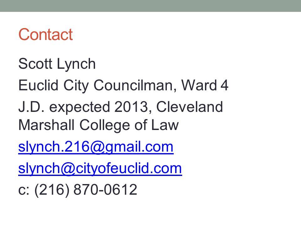 Contact Scott Lynch Euclid City Councilman, Ward 4 J.D.