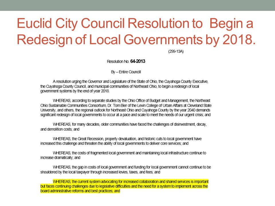 Euclid City Council Resolution to Begin a Redesign of Local Governments by 2018.