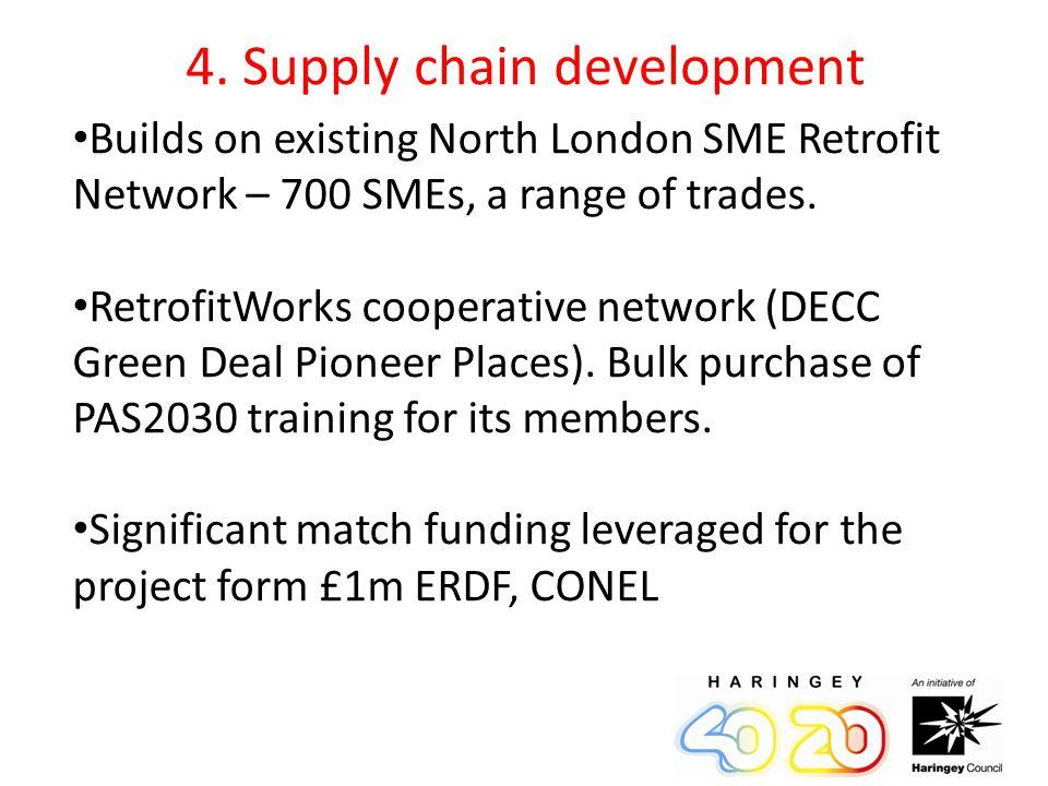 4. Supply chain development Builds on existing North London SME Retrofit Network – 700 SMEs, a range of trades. RetrofitWorks cooperative network (DEC