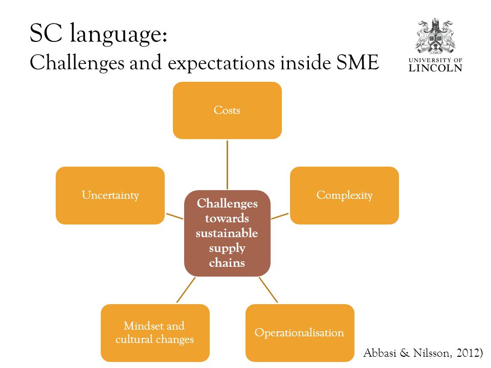 SC language: Challenges and expectations inside SME Challenges towards sustainable supply chains CostsComplexityOperationalisation Mindset and cultural changes Uncertainty Abbasi & Nilsson, 2012)