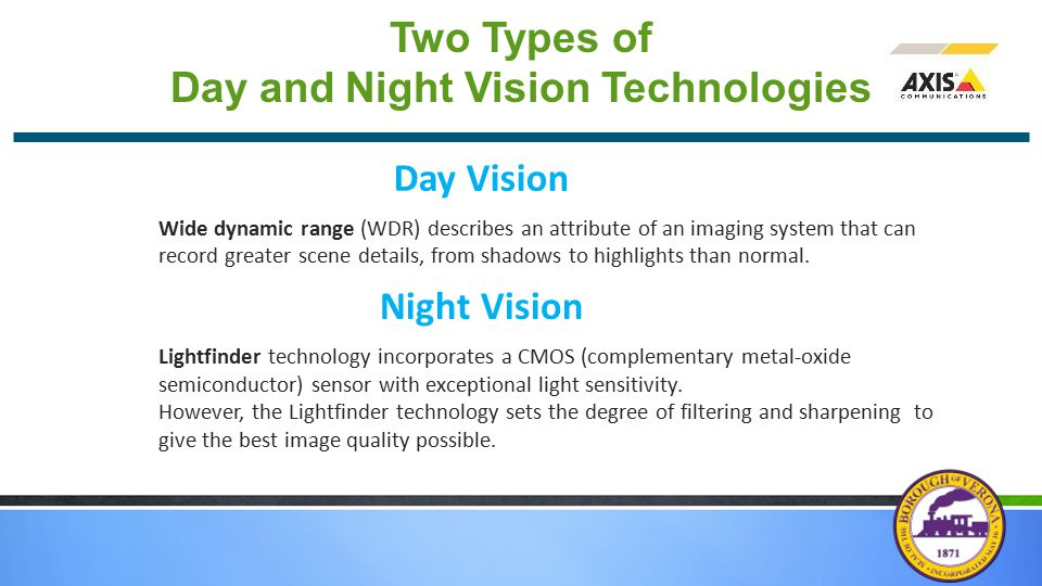 Two Types of Day and Night Vision Technologies Wide dynamic range (WDR) describes an attribute of an imaging system that can record greater scene details, from shadows to highlights than normal.