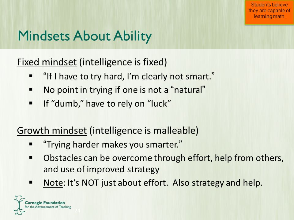 Fixed mindset (intelligence is fixed)  If I have to try hard, I'm clearly not smart.  No point in trying if one is not a natural  If dumb, have to rely on luck Growth mindset (intelligence is malleable)  Trying harder makes you smarter.  Obstacles can be overcome through effort, help from others, and use of improved strategy  Note: It's NOT just about effort.